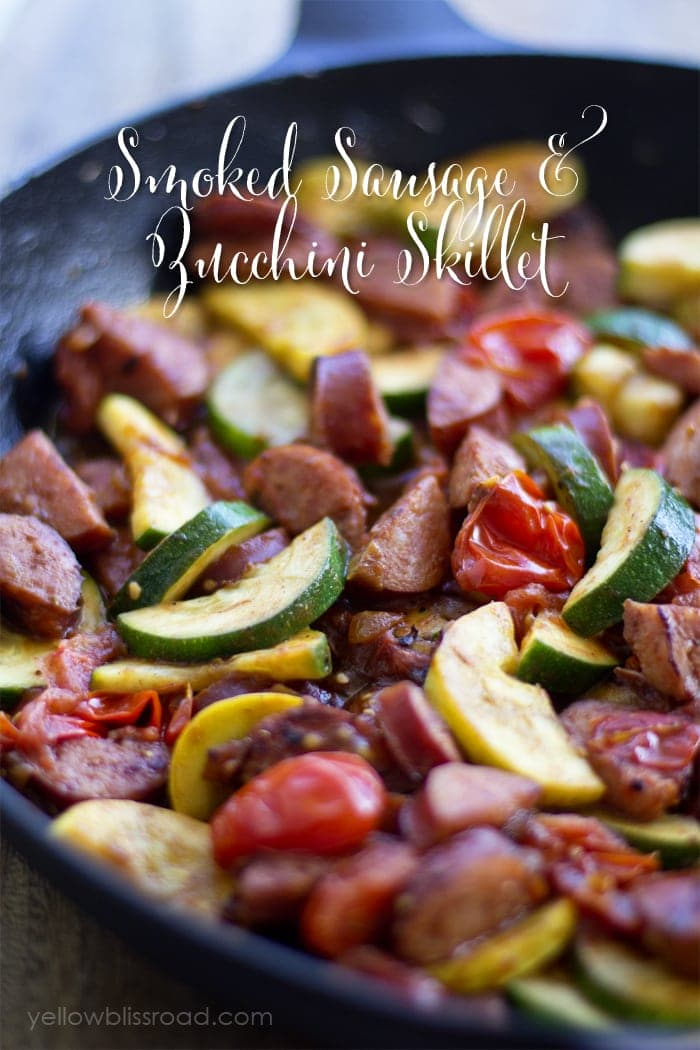 Smoked Sausage and Zucchini Skillet with Tomatoes