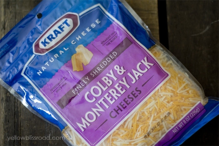 A bag of shredded colby jack cheese