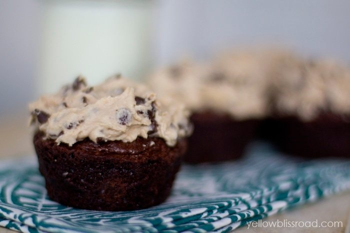 Brownie Cupcakes with Chocolate Chip Cookie Dough Frosting