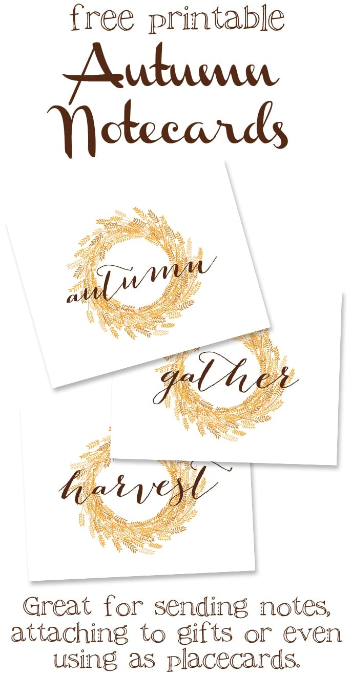 Free Printable Autumn Notecards - Great for sending notes, or even using as placecards!