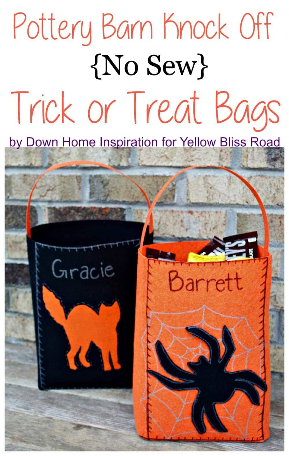 No Sew Pottery Barn Knock-Off Trick or Treat Bags