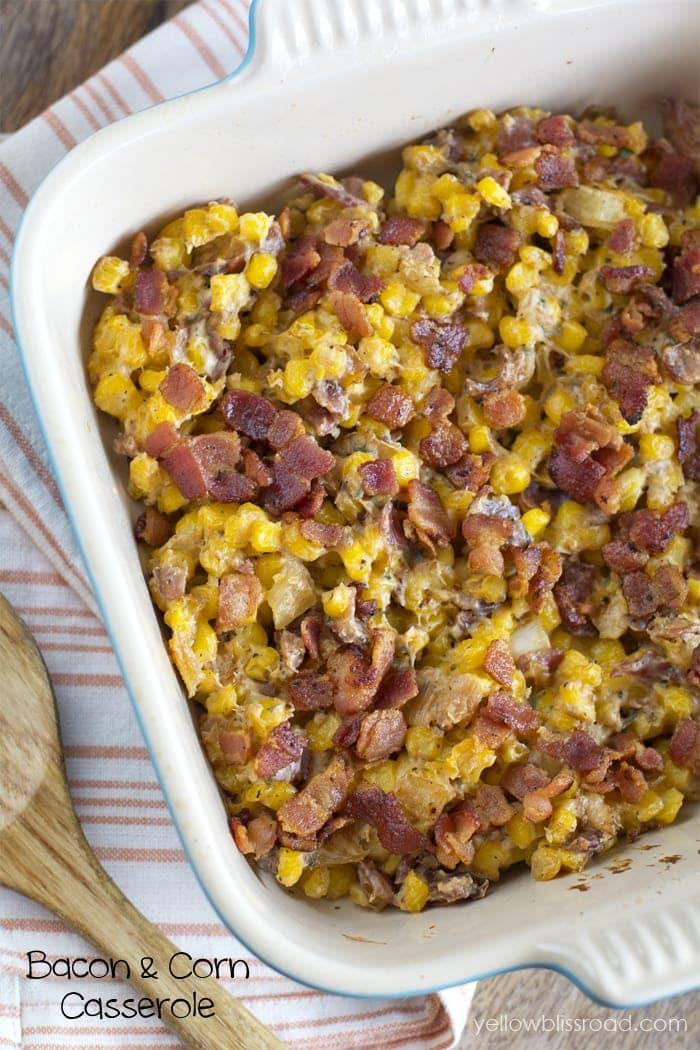 Bacon and Corn Casserole - Perfect holiday sidedish