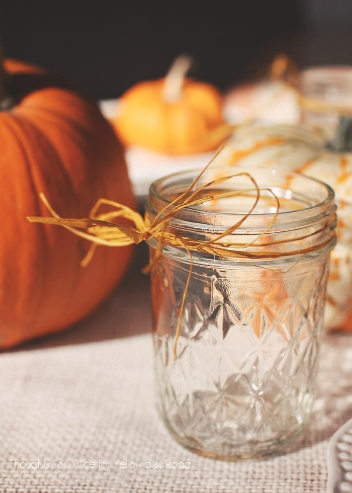 Canning Jars Tied with Yellow Raffia for Thanksgiving