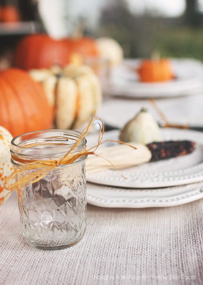Canning Jars for Thanksgiving Table Glasses