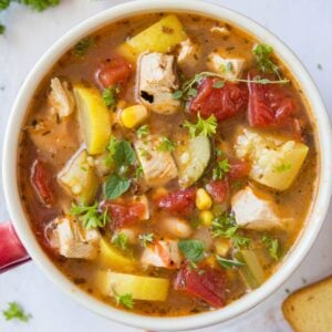 A bowl of Chicken and vegetable soup