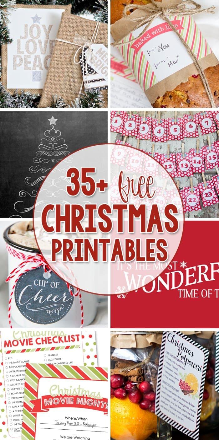 More than 25 Free Christmas Printables - Gift Ideas, Gift Tags and Wall Art!