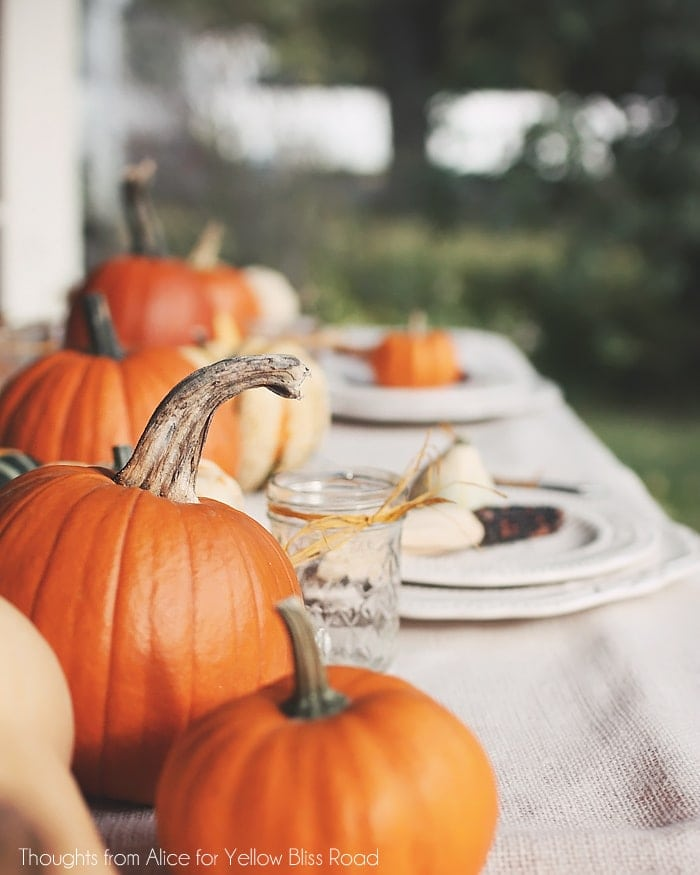 Orange Pumpkin Thanksgiving Table