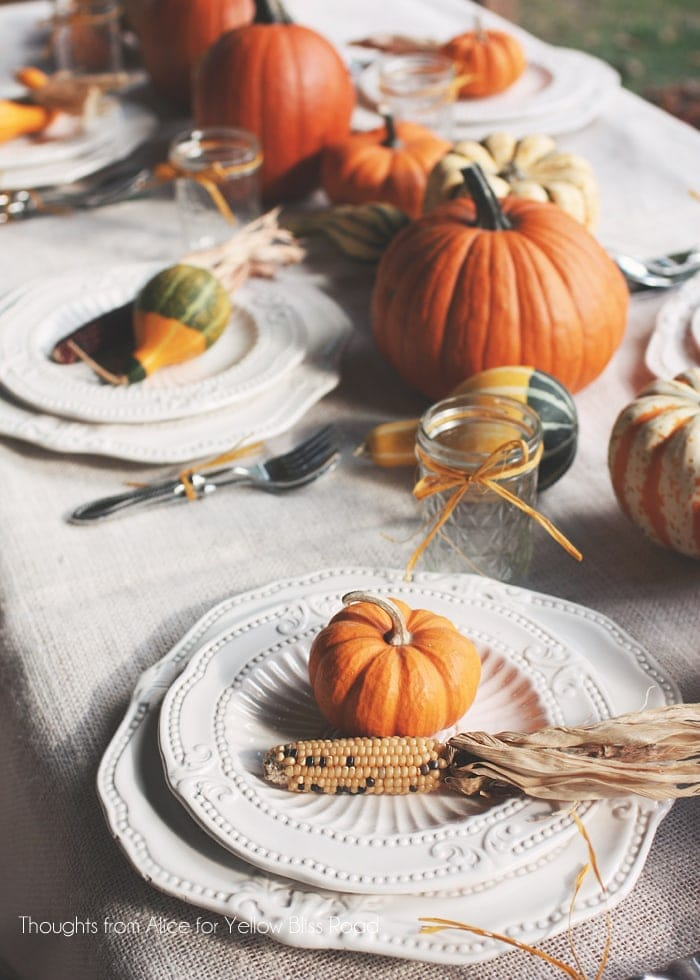 Rustic Thanksgiving Table Setting & Thanksgiving Tablescape Ideas - Yellow Bliss Road