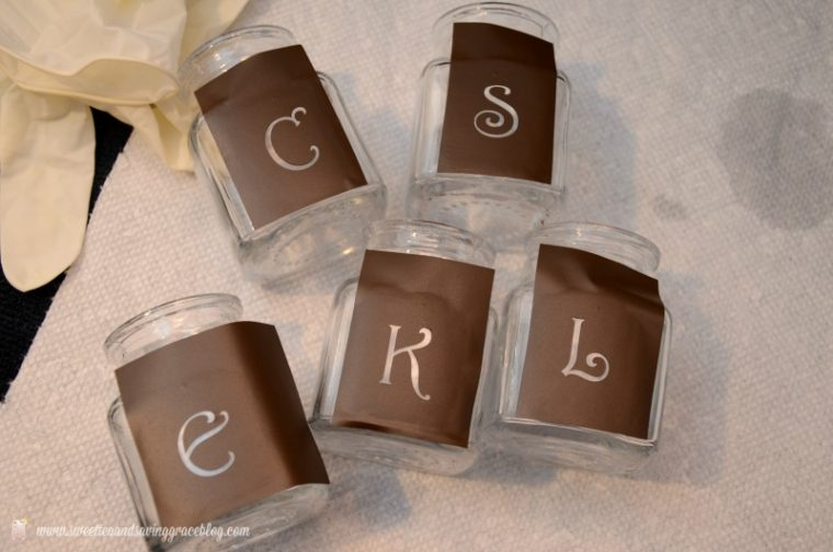 A group of letter templates on jars