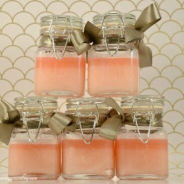 Stack of jars of pink sugar scrub