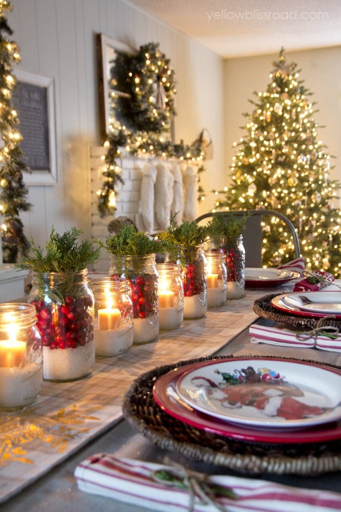 Mason Jar Centerpieces Holiday Tablescape