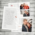 Winter Trees Love Birds Photo Holiday Card