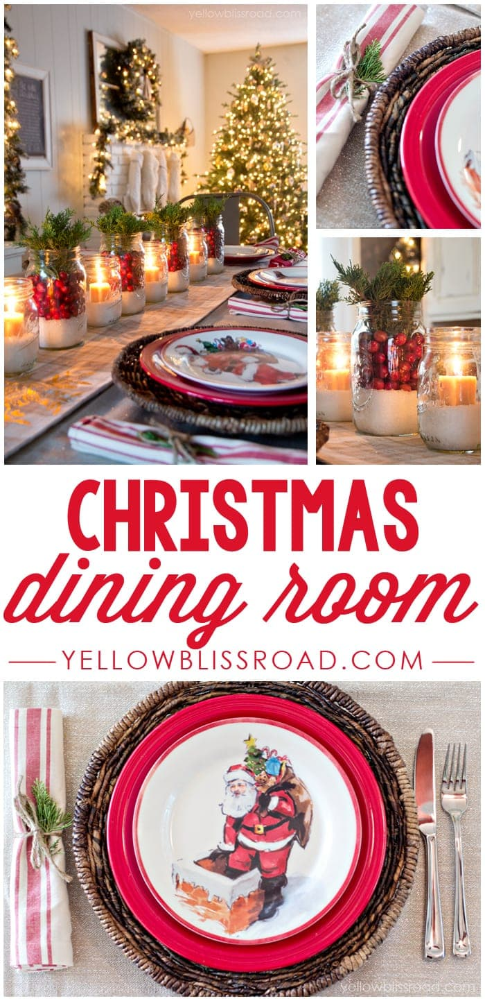 Christmas Dining Room Decor and Tablescape