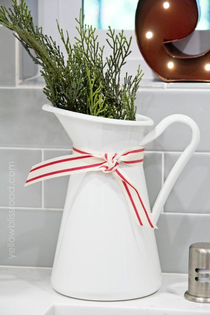 Christmas Kitchen Decor pitcher with greens