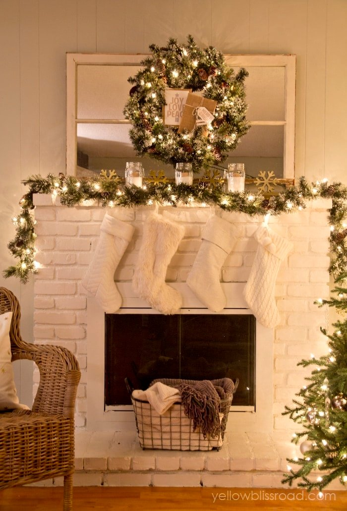 Rustic glam christmas tree and mantel yellow bliss road for H m christmas decorations