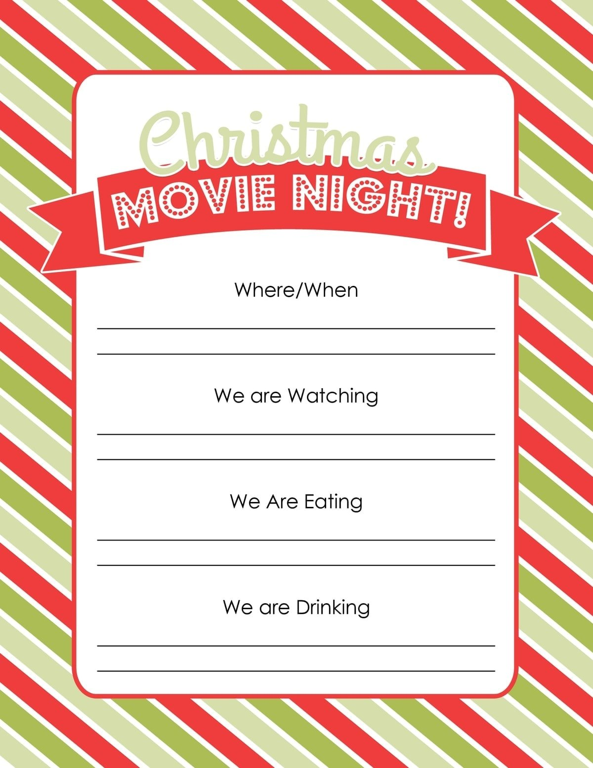 Christmas Movie Night Printable