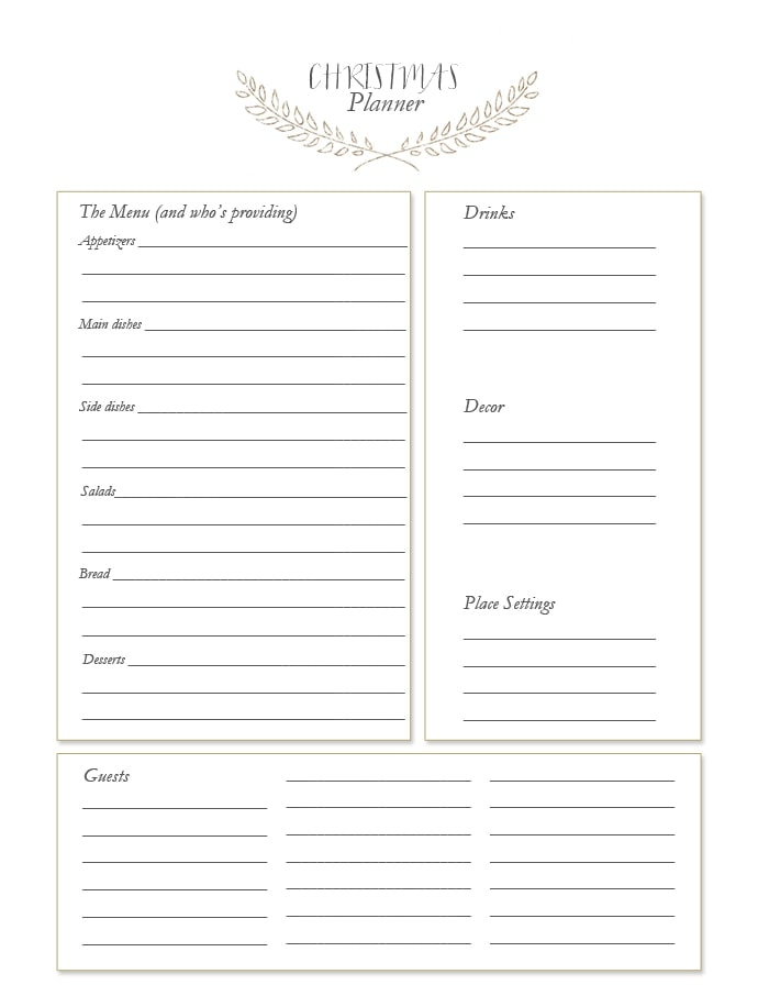 Christmas Planner | Free Printables for Holiday Entertaining