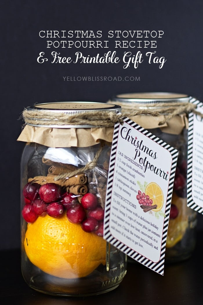 Christmas Stovetop Potpourri and Free Printable Gift Tags