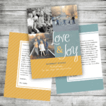 Blue and Gold Color Block Photo Holiday Card