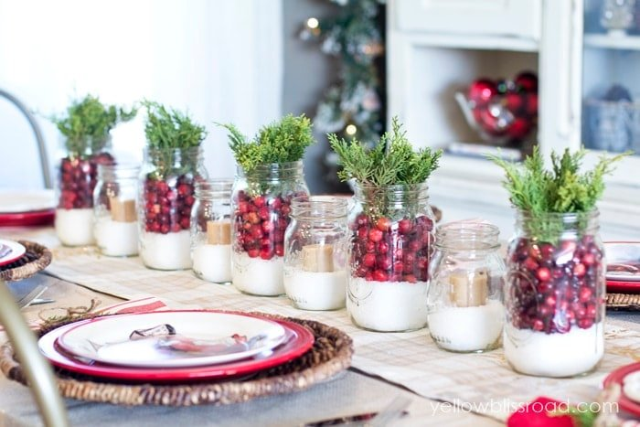 Cranberry Juniper and Epsom Salt Centerpieces