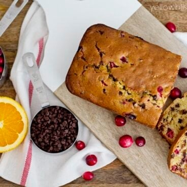 Loaf of cranberry orange bread on a table