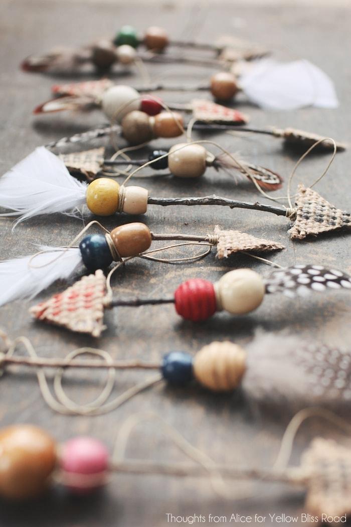 Handmade Twig Feather Arrows