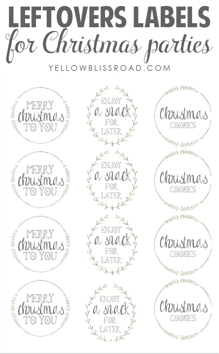 Leftovers Labels for Christmas Parties | Free Printable for Holiday Entertaining