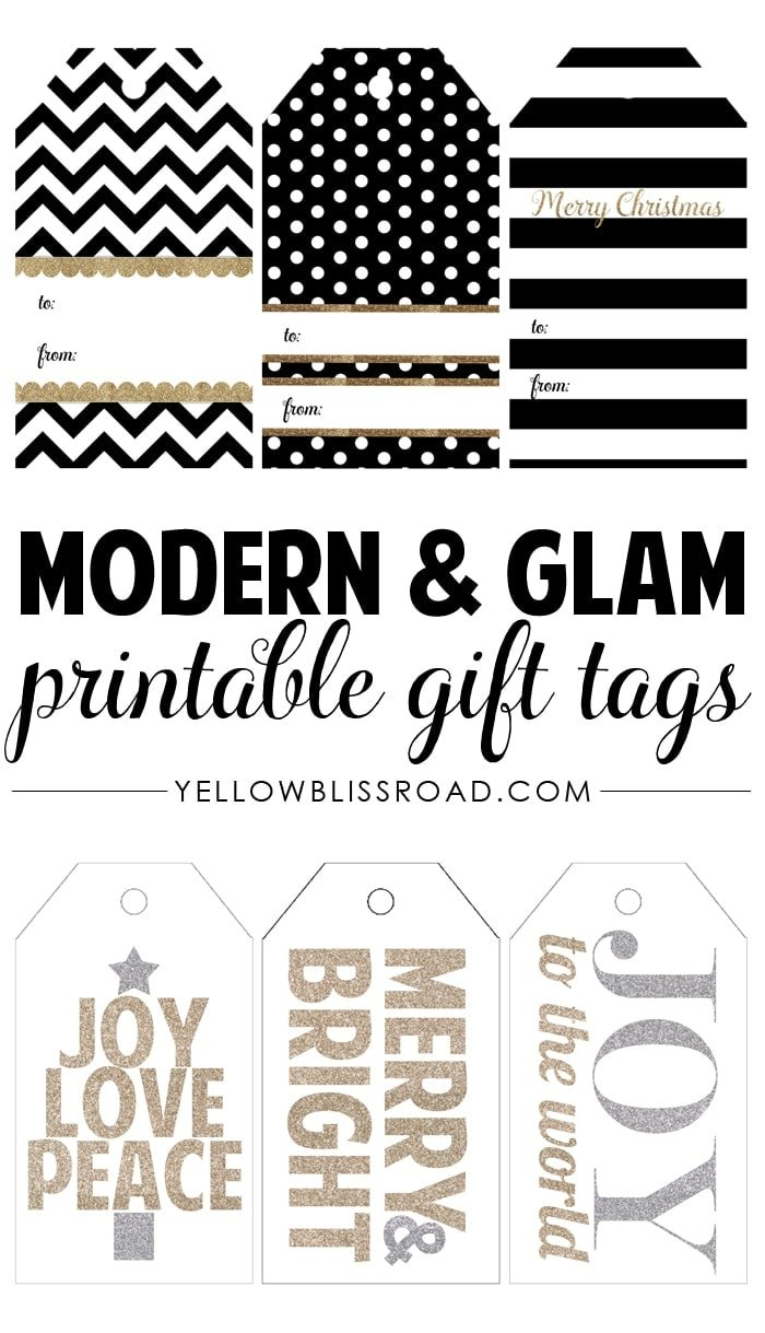 Free printable rustic and plaid gift tags yellow bliss road modern glam free printable gifttags negle Gallery