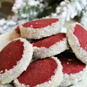 A close up of red velvet cookies