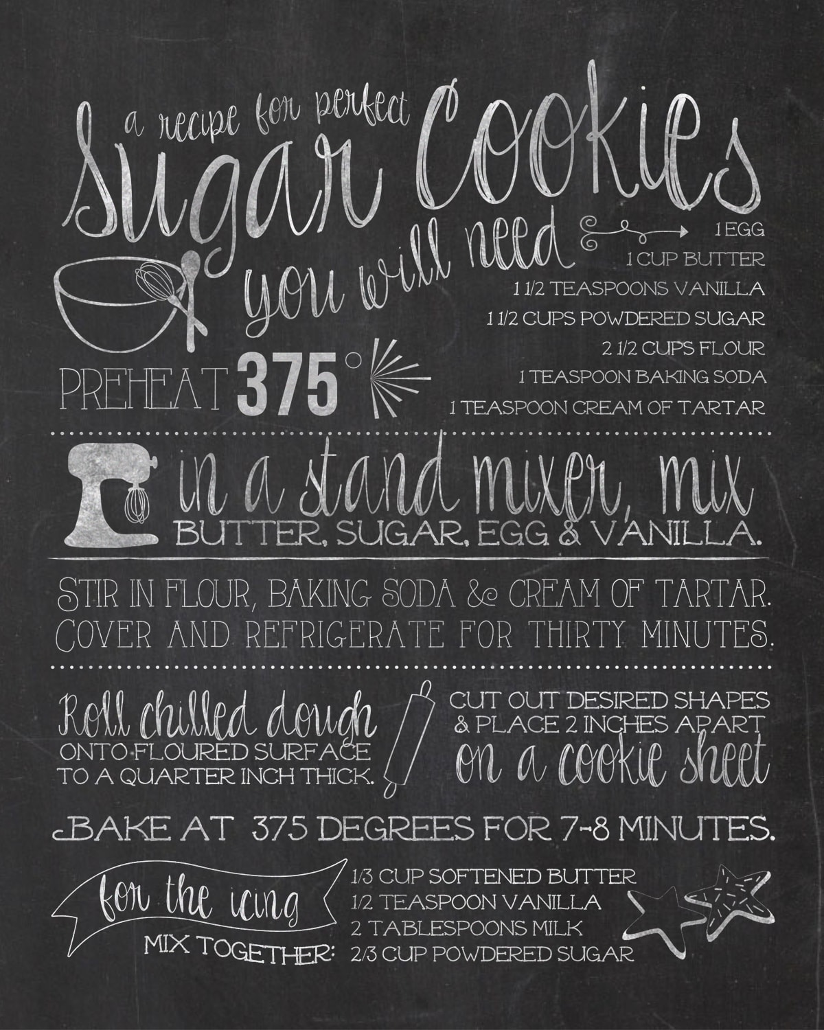 Sugar Cookie Recipe Chalkboard Gift Tag