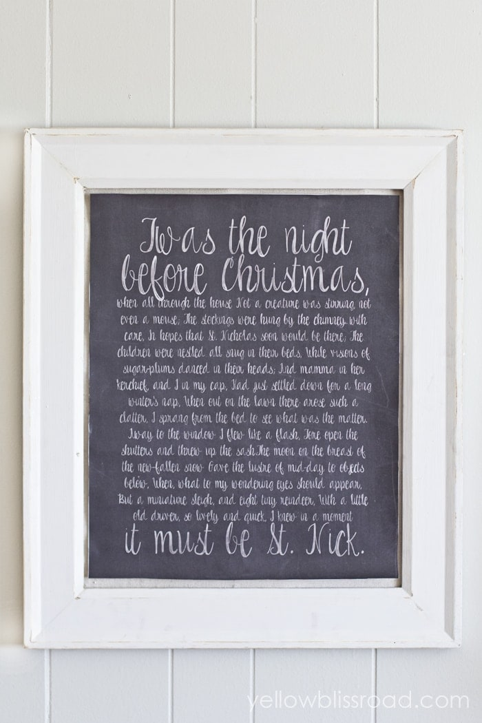 Twas the Night Before Christmas Chalkboard