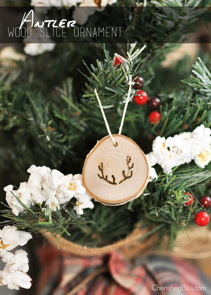 antler wood slice ornaments