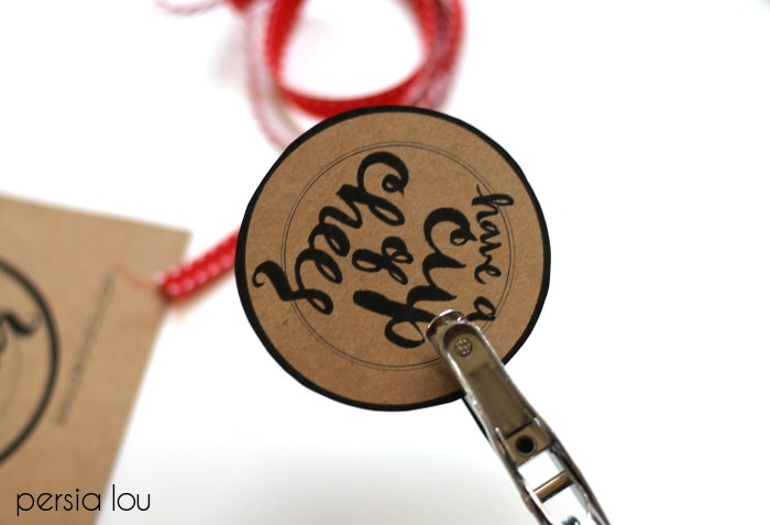 A close up of a gift tag