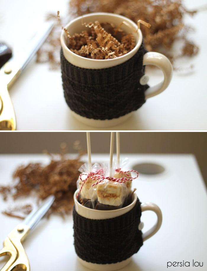 A close up of mug with treats inside