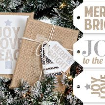 Free Printable Glitter Christmas Sign and Gift Tags