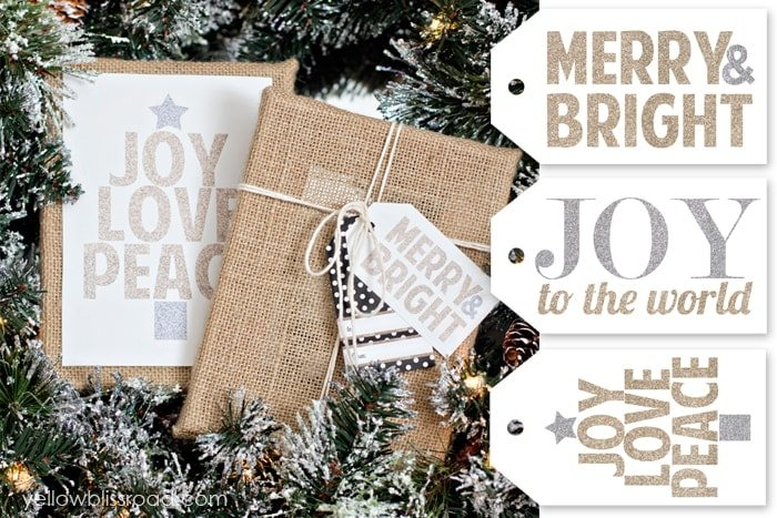 Free Printable Glitter Christmas Sign and Gift Tags - Yellow Bliss Road