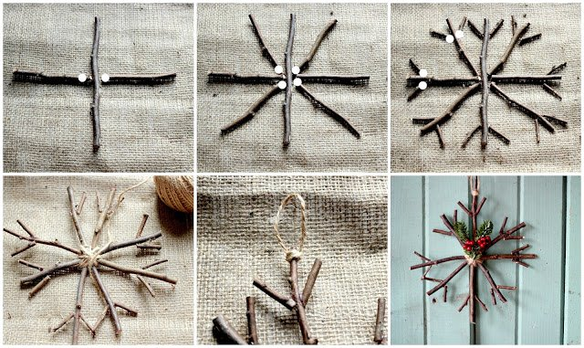 Collage of steps to make twig ornament