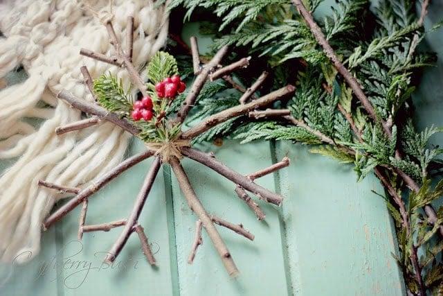 Handmade Christmas Ornament: Rustic Twig Snowflake