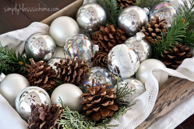 Pinecones and Christmas ornaments