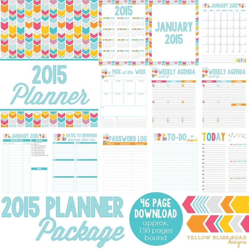 2015 Blog Planner, Daily Planner and Menu Planner - Yellow Bliss Road