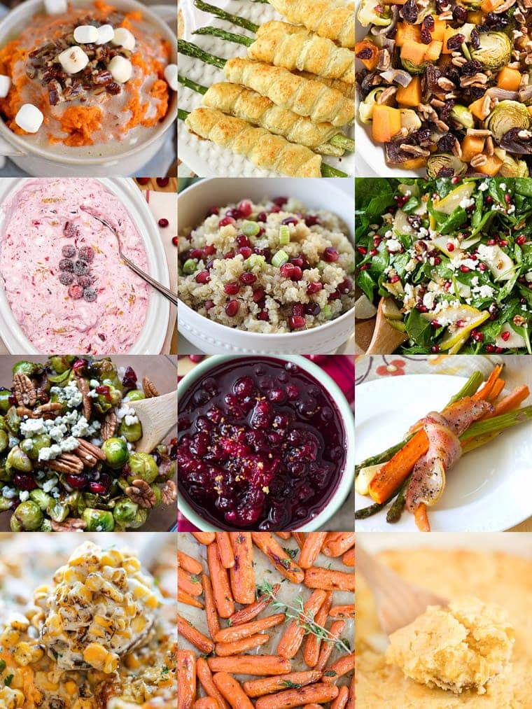 Collage of side dishes for the holidays