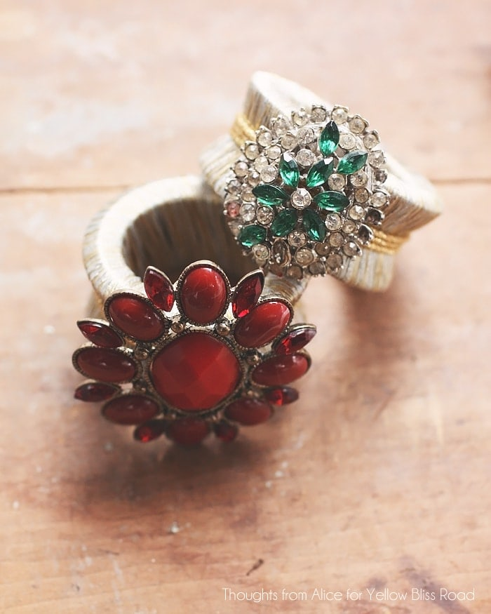 Vintage Jewelry Turned Holiday Napkin Rings