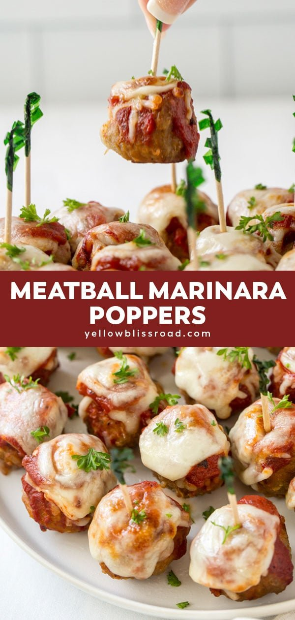 Meatball marinara poppers collage for pinterest