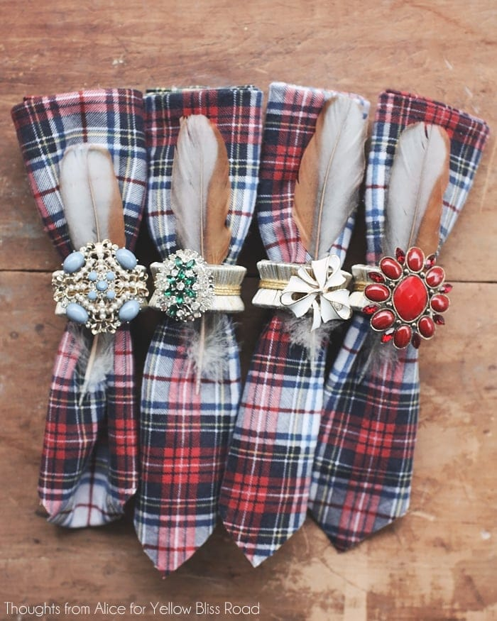 Rustic Bohemian Cabin Style Napkins and Napkin Rings