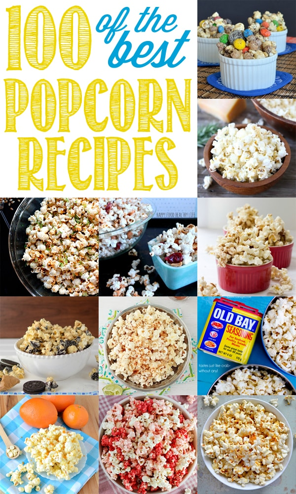 Ultimate Popcorn Recipes Round Up - 100 of the BEST Sweet and Savory Popcorn Recipes!