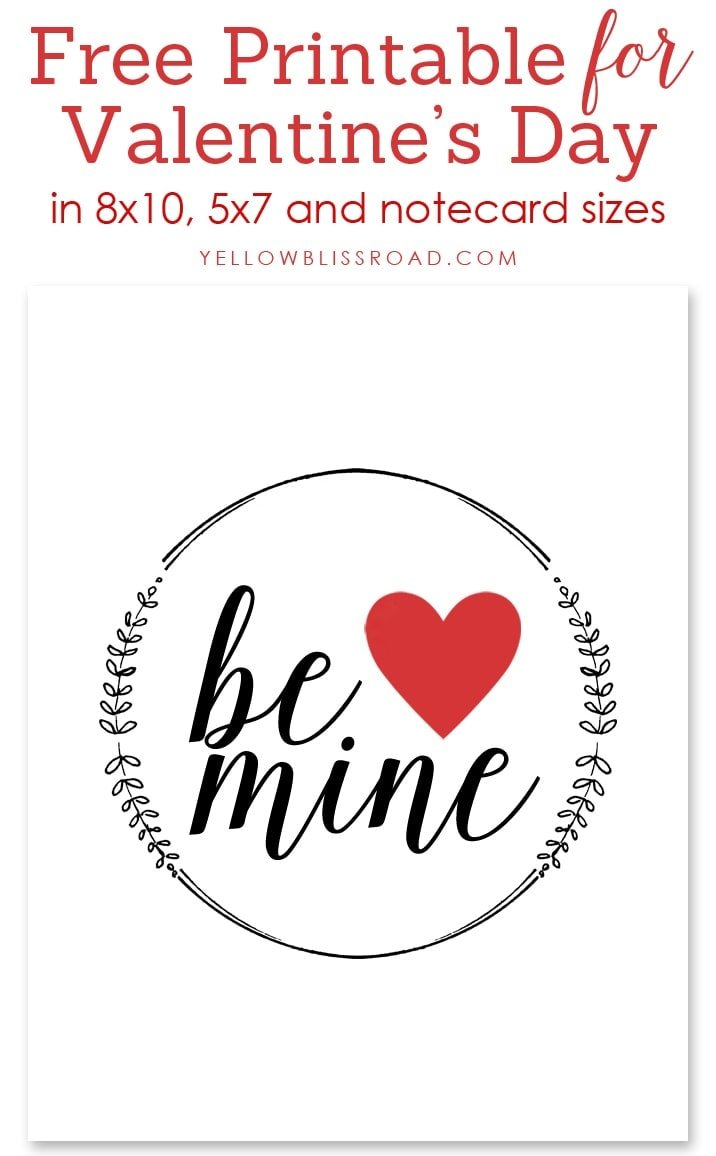 Be Mine Valentine Print in multiple sizes