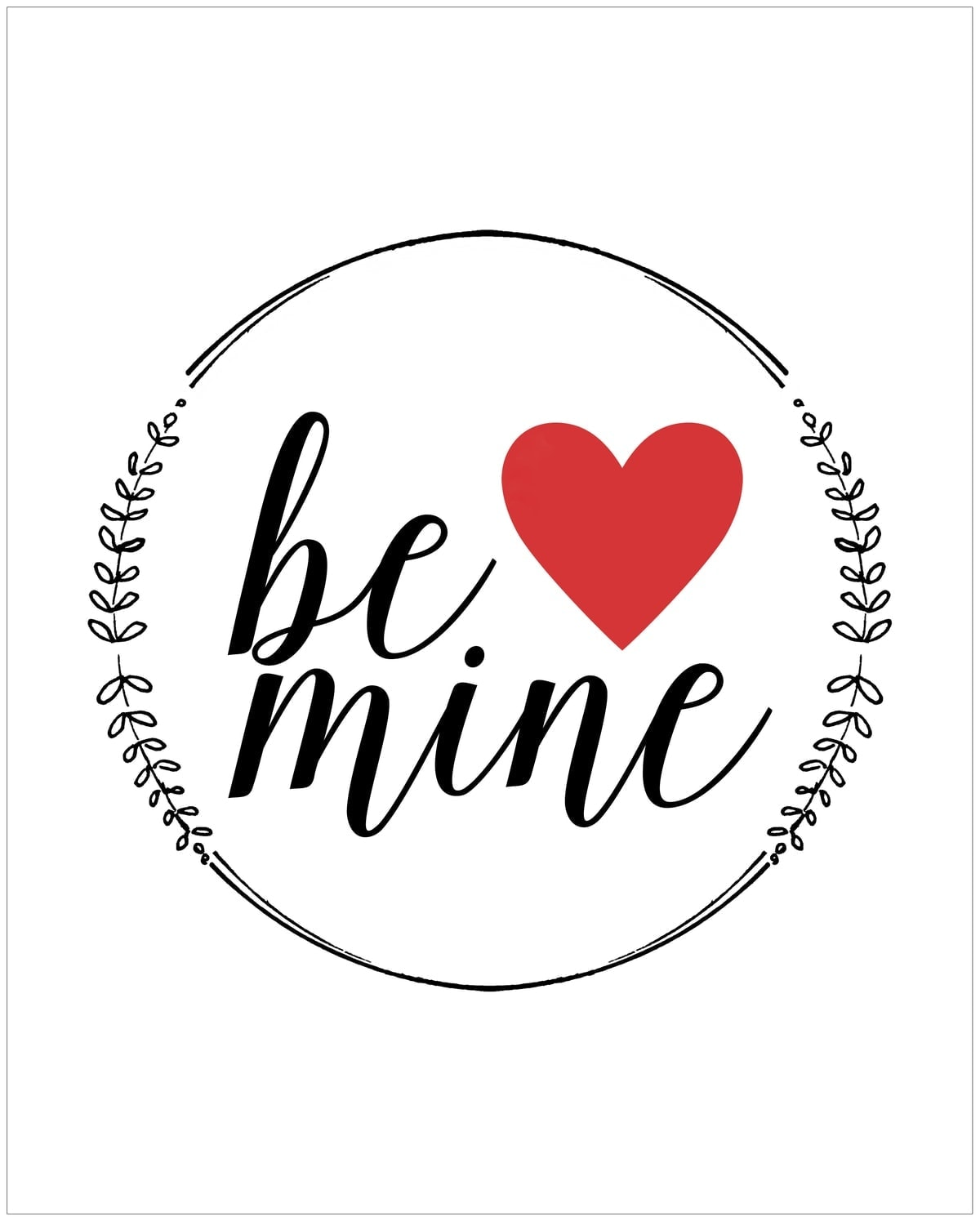 photo relating to Valentine Printable referred to as Be Mine\