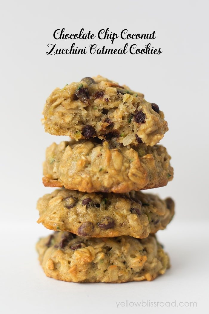 Chocolate Chip Coconut Zucchini Oatmeal Cookies