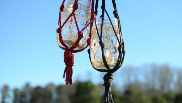 DIY Macrame Boho Candle Lanterns
