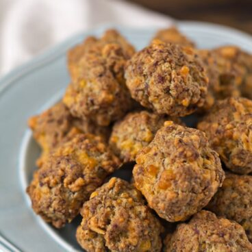 A plate of sausage bites